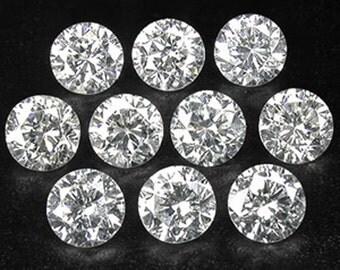 0.50 Ct 2.3mm Round Brilliant 10 Pcs Set 100% Natural White Diamonds