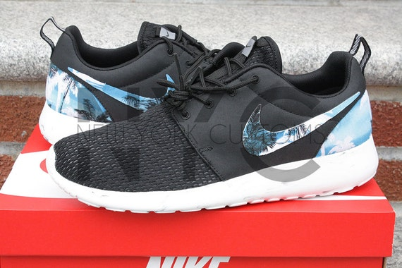 nike roshe run black white marble blue palm tree by nycustoms