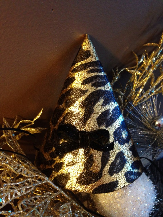 Leopard Print Fabric Party Hat, New Year's Eve Party Hat, Cone Retro Party Hat, Leopard Print Party Favor