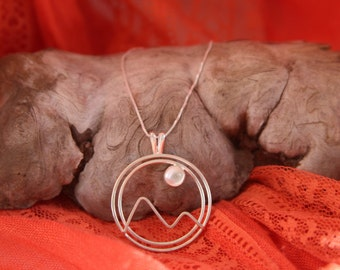 Sterling Silver Moonstone Mountain Pendant and Necklace