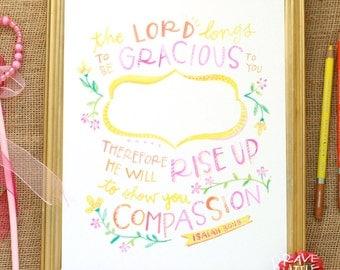 Bible Verse Art, Personalized Scripture Print, Isaiah 30, Watercolor Lettering, Custom Name Print, Pink Girl's Art, Nursery Art, P8-ISA30
