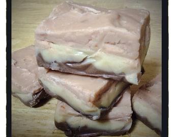 ARTISANAL FUDGE - Neapolitan Fudge - Chocolate, Vanilla & Cherry Fudge  - 1/2 Lb. - Homemade Candy -