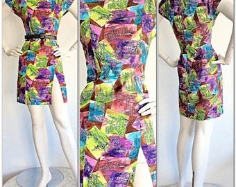 1960s Vintage Novelty Dress / Postcards Souvenir Windmills Multi Color Cotton Dress / Vintage Vested Gentress Rainbow Short Sleeves / Small