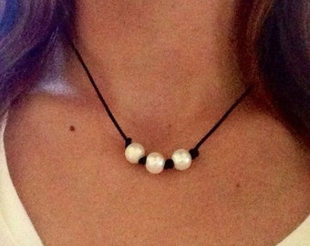 Triple Pearl Leather Choker Necklace