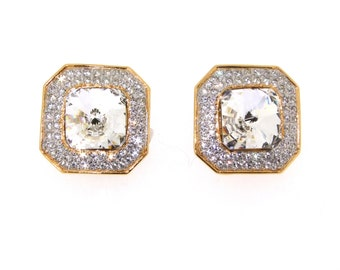 Vintage Valentino Earrings Clip on Gold Crystal