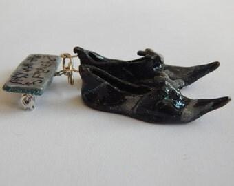 Unusual faery or fairy shoe brooch