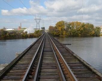 Grand River Rail Road Track~ **Art**Photograph**Converging Line**Wall Art**Office Art**