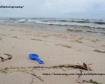 Blue Shovel~  **Art**Lake Michigan**Hoffmaster**October**Beach**