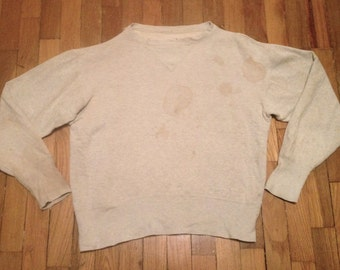 Vintage 1950s PENNEYS Heather Grey Single V SWEATSHIRT Size Medium 40 Distressed & Destroyed