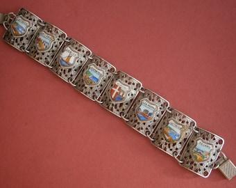 A605)  A Lovely vintage silver tone metal Italian heraldic filigree souvenir  bracelet