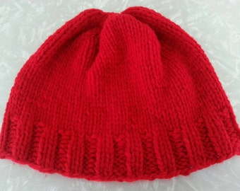 Bulky Knitted Red Beanie (Adult)