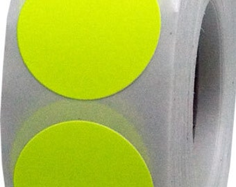 500 Neon Fluorescent Yellow Dot Stickers - 0.75 Inch Round Adhesive Labels