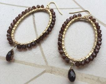 Swarovski smoked topaz hoop earrings