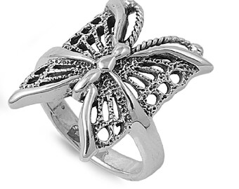 Butterfly Ring 21MM Sterling Silver 925