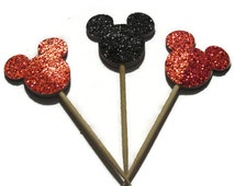 Mickey Mouse Mini Cupcake Toppers, Custom Colors, Ready in 1 Week, Black, Red, Disney Party Decorations, Food Picks, Donuts, Birthday, 12CT
