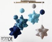 BLUE MOON Star Mobile   Nursery Mobile   Baby Shower Gift for Baby Boy in shades of blue   100% Cotton