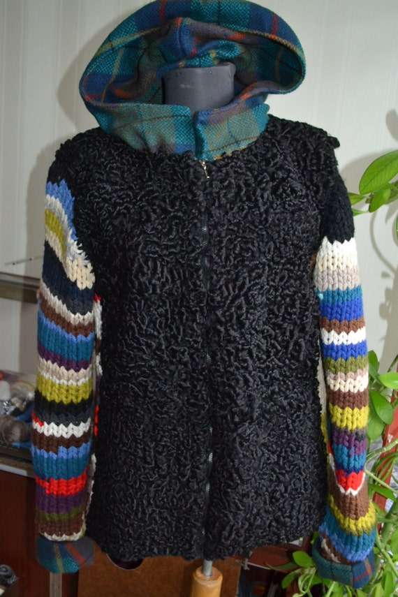 Knitting Patterns Astrakhan Wool : jacket from fur Astrakhan fur knitted sleeve zipper jacket