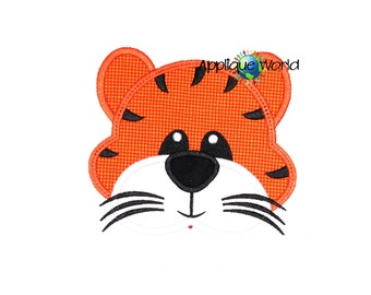 Tiger Face Applique Embroidery-Instant Digital Download