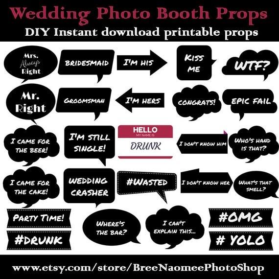 Wedding Photo Booth Props Diy High Quality Pdf Printable Props