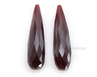 Garnet Quartz Loose Gemstone Long Drop Pair 8x30mm