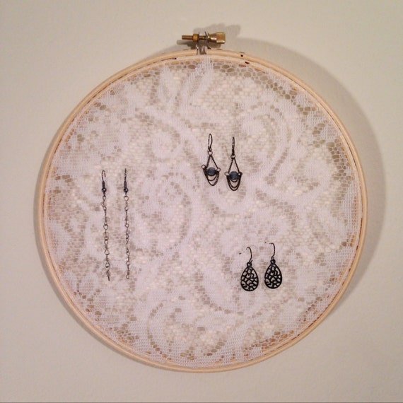 Earring holder white lace embroidery hoop jewelry