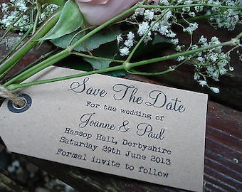 10 Personalised Rustic/Vintage/Shabby Chic Style Save The Date Tags