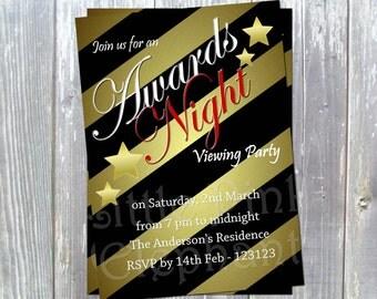 Oscar party invitation printable award viewing Academy awards oscar viewing invites black and gold