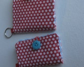 Fabric Card Wallet with Key Ring and Free Coordinating Mini Card Holder