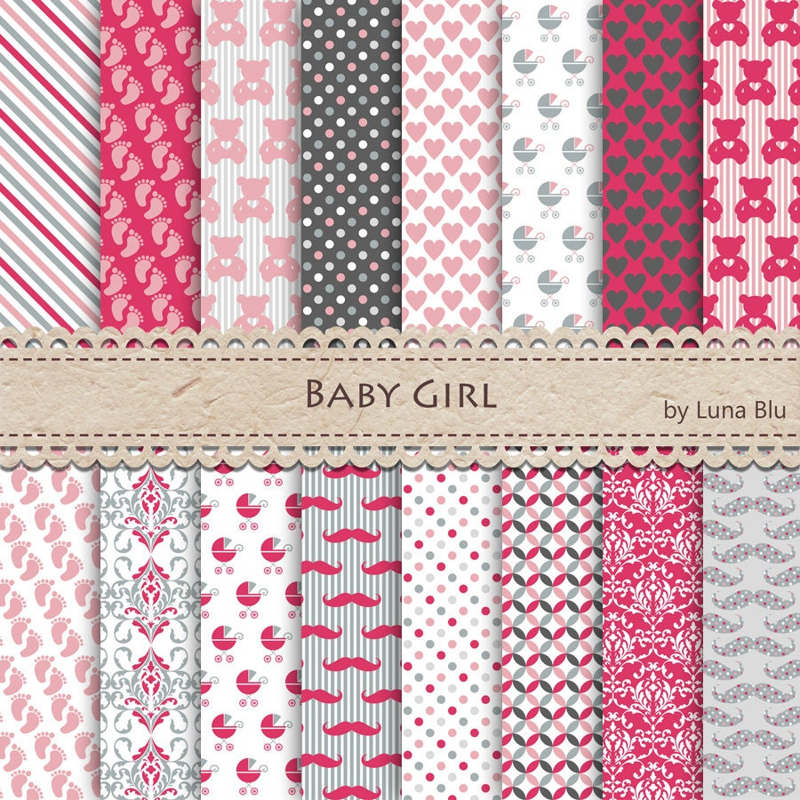 New Item Added To My Shopbaby Girl Digital Paper Pack Its A Girl