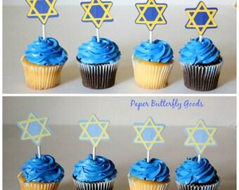 Hanukkah Cupcake Toppers, Star of David, Jewish Star, Bar Mitzvah, Cupcake Toppers