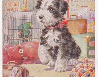 "Florence Valter ""I Remain Faithfully"" Dog Sits By Luggage Area,Art Drawn Postcard 1930s"