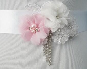 Wedding Belt, Bridal Belt, Sash Belt, Crystal Rhinestone Belt, White Bridal Sash, Style 265