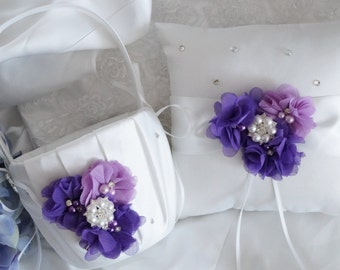 Flower Girl Basket, Ring Bearer Pillow, Wedding Basket and Pillow Set - Style 320