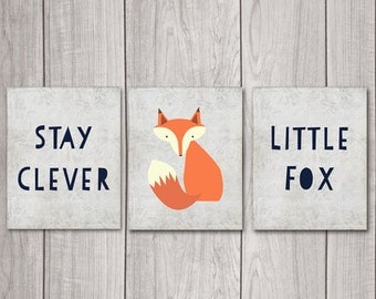75% OFF SALE Fox Nursery Decor (Set of 3) - 8x10 Stay Clever Little Fox, Nursery Art, Nursery Decor, Woodland Nursery, Nursery Wall Decor