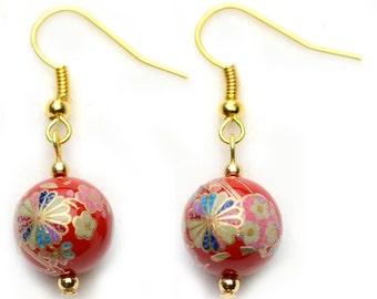 Oriental Earrings - Tensha Bead Earrings  (Red with Chrysanthemum Kiku Deisign) - Handmade Earrings