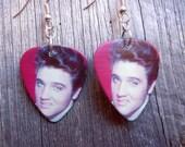 Elvis Curling His Lip Guitar Pick Earrings