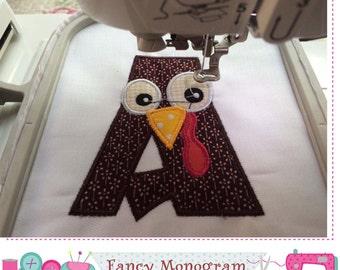 Thanksgiving Monogram A applique,Turkey Letter A applique, Font A applique,Letter A ,Thanksgiving, Turkey,Birthday,Machine Embroidery 02