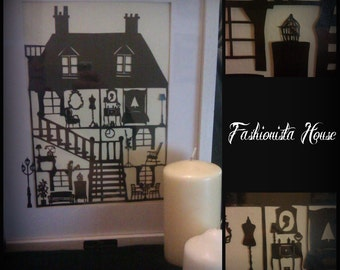 Cut Your Own Fashionista House Paper Cut Template - Personal Use JPEG