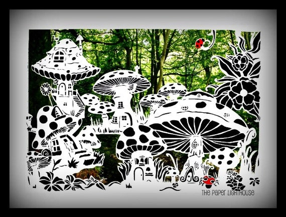 cut your own fairy toadstool house village paper cut