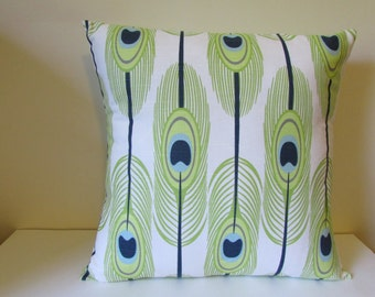 Green Feathers Pillow Cover, Green Feather/Navy Accent Pillow Cover