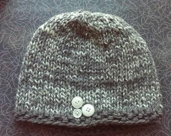 Knit Grey & White Winter Hat