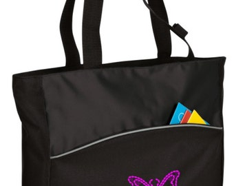 Personalized Tote Bag Embroidered Tote Bag Custom Tote Bag - Sports - Butterfly - B1510