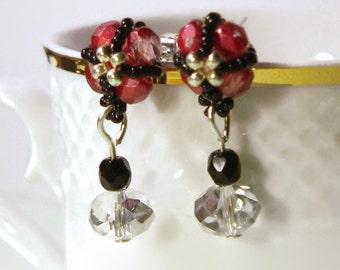 Stud Earrings, Raspberry Pink Stud Earrings, Bead Earrings, Beaded Earrings, Unique Earrings Jewelry
