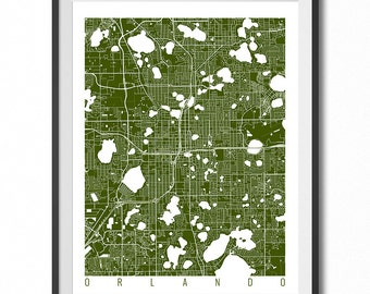 ORLANDO Map Art Print / Florida Poster / Orlando Wall Art Decor / Choose Size and Color