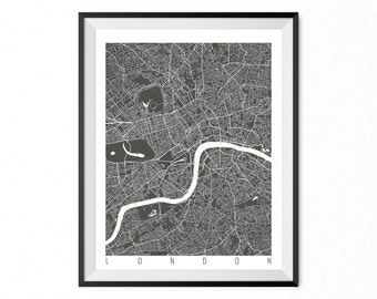 LONDON Map Art Print / England Poster / LONDON Wall Art Decor / Choose Size and Color