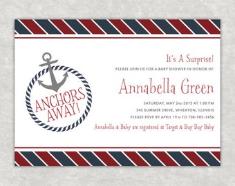 Anchors Away, Baby Shower, Nautical Invitation, Customizable, Sample