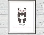 "Panda nursery art, Instant download, 8x10"", Panda nursery wall art, Modern nursery art, Black and white nursery art, Panda nursery"