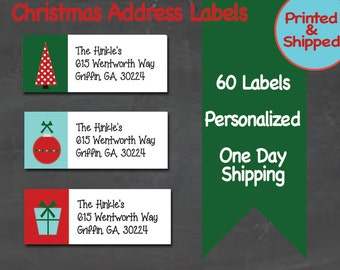 60 Personalized Christmas Return Address Labels - Custom Holiday Labels