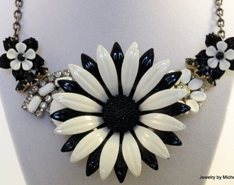 Black and White Assemblage Necklace Made with Vintage Pieces