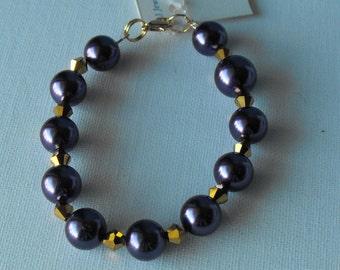 Crystal and Pearl Purple and Gold Bracelet - LSU Jewelry (BD-869)